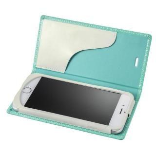 GRAMAS FEMME Ena エナメル調レザー手帳型ケース ターコイズ iPhone 6s/6