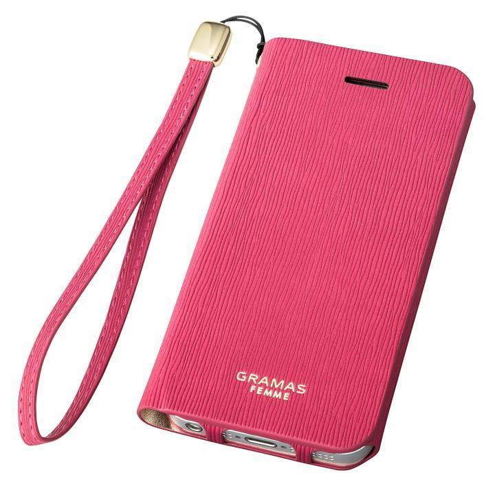 GRAMAS FEMME Colo 手帳型レザーケース ピンク iPhone SE/5s/5
