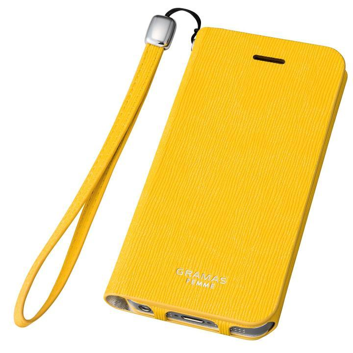 GRAMAS FEMME Colo 手帳型レザーケース イエロー iPhone SE/5s/5