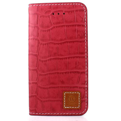 【iPhone SE/5s/5ケース】牛革手帳型ケース DESIGNSKIN PREMIUM クロコダイル模様レッド iPhone SE/5s/5_0