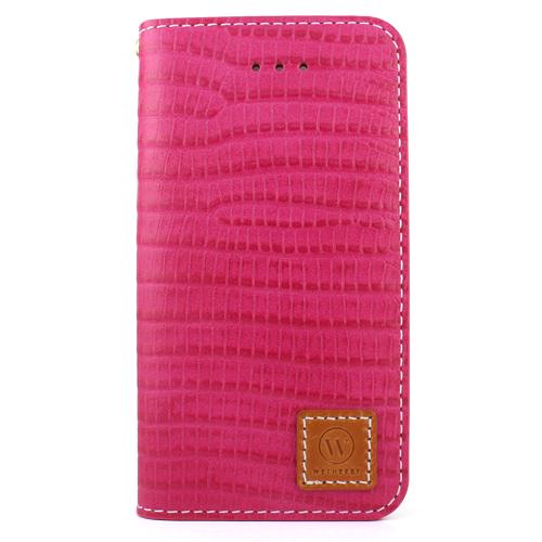 iPhone SE/5s/5 ケース 牛革手帳型ケース DESIGNSKIN PREMIUM クロコダイル模様ピンク iPhone SE/5s/5_0