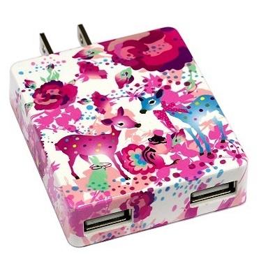カヨ ホラグチ デザイン USB-AC アダプター pink-deer ピンク_0