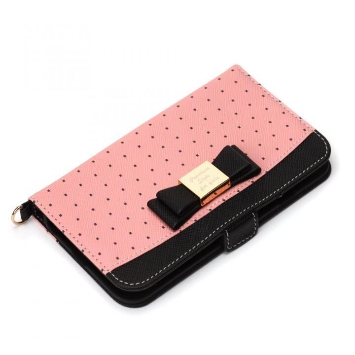 ガールズフリップカバー リボン ピンク iPhone SE 第2世代_0