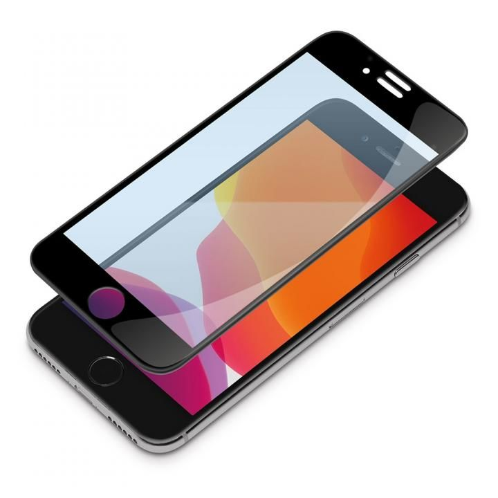 貼り付けキット付き 3Dハイブリッド液晶保護ガラス ブルーライト低減 iPhone SE 第2世代_0