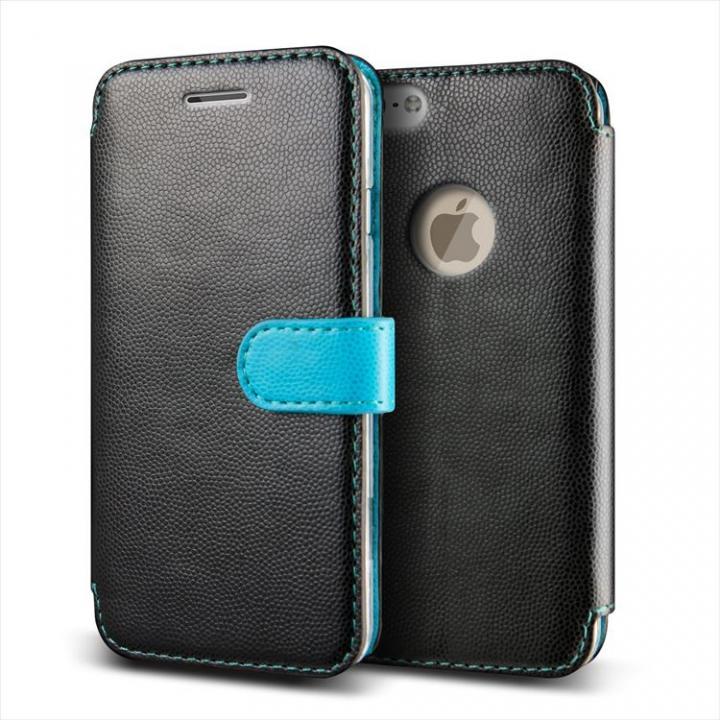 【iPhone6ケース】手帳型PUレザーケースVERUS Vivid Diary ブラック×ブルー iPhone 6_0