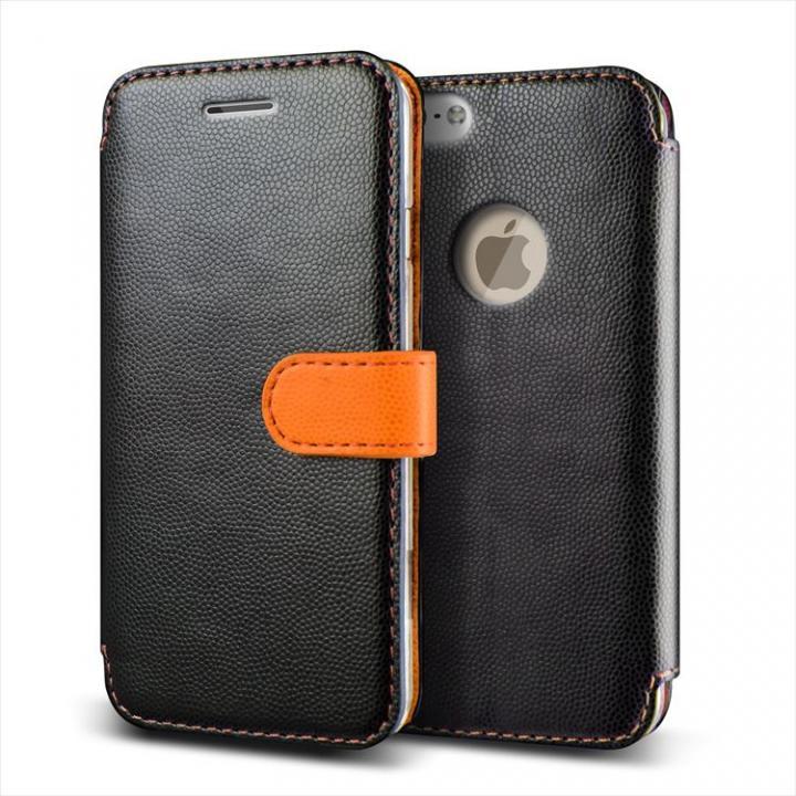 【iPhone6ケース】手帳型PUレザーケースVERUS Vivid Diary ブラック×オレンジ iPhone 6_0