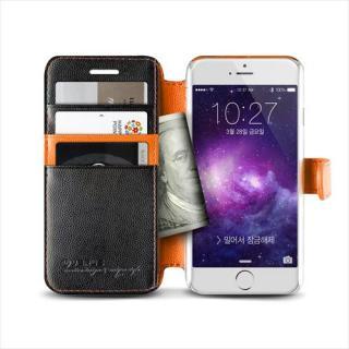 【iPhone6ケース】手帳型PUレザーケースVERUS Vivid Diary ブラック×オレンジ iPhone 6_3