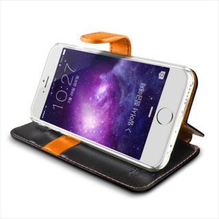 【iPhone6ケース】手帳型PUレザーケースVERUS Vivid Diary ブラック×オレンジ iPhone 6_4