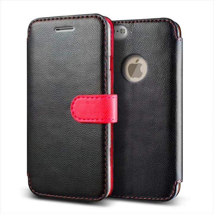 手帳型PUレザーケースVERUS Vivid Diary ブラック×ホットピンク iPhone 6