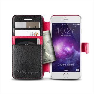 【iPhone6ケース】手帳型PUレザーケースVERUS Vivid Diary ブラック×ホットピンク iPhone 6_3