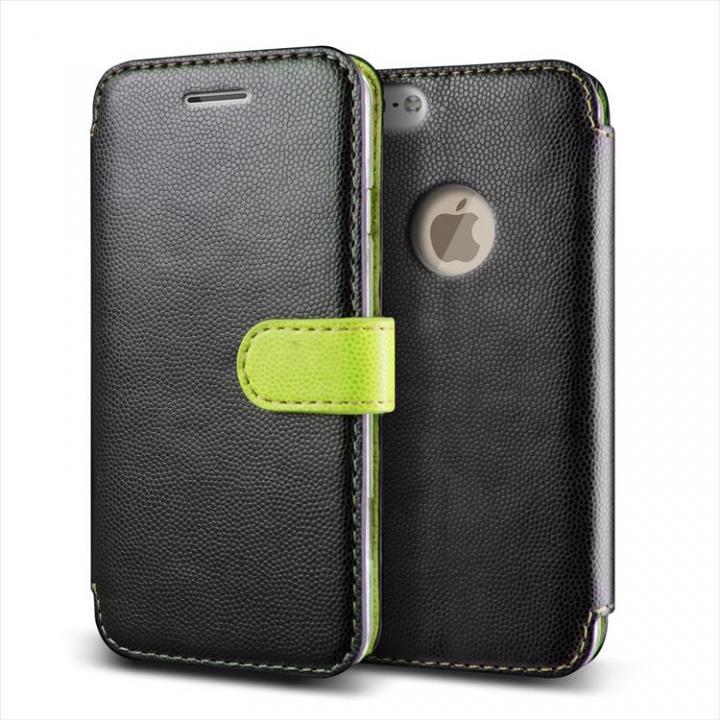 手帳型PUレザーケースVERUS Vivid Diary ブラック×グリーン iPhone 6