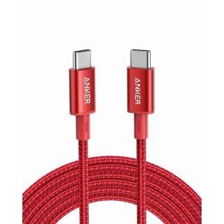 Anker 高耐久ナイロン USB-C & USB-C ケーブル 100W 3.0m レッド