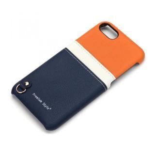 iPhone7/6s/6 ケース バックポケットケース White Line オレンジ&ネイビー iPhone 7/6s/6