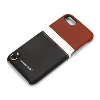 iPhone7/6s/6 ケース バックポケットケース White Line ブラウン&ブラック iPhone 7/6s/6