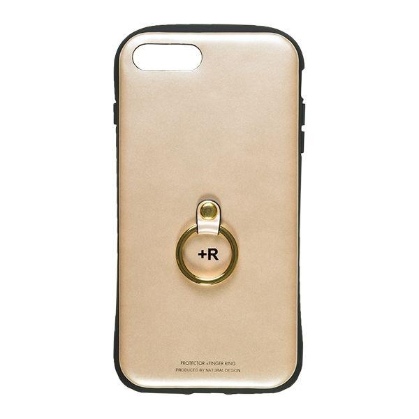 iPhone8 Plus/7 Plus ケース フィンガーリング付衝撃吸収背面ケース +R シャンパンゴールド iPhone 8 Plus/7 Plus_0