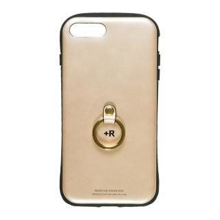 【iPhone8 Plus/7 Plusケース】フィンガーリング付衝撃吸収背面ケース +R シャンパンゴールド iPhone 8 Plus/7 Plus