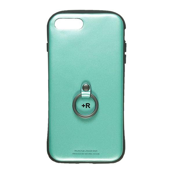 【iPhone8 Plus/7 Plusケース】フィンガーリング付衝撃吸収背面ケース +R ターコイズ iPhone 8 Plus/7 Plus_0