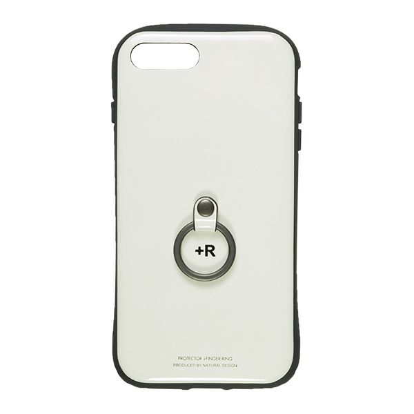 【iPhone8 Plus/7 Plusケース】フィンガーリング付衝撃吸収背面ケース +R ピュアホワイト iPhone 8 Plus/7 Plus_0