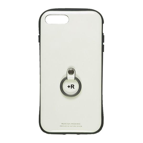 iPhone8 Plus/7 Plus ケース フィンガーリング付衝撃吸収背面ケース +R ピュアホワイト iPhone 8 Plus/7 Plus_0