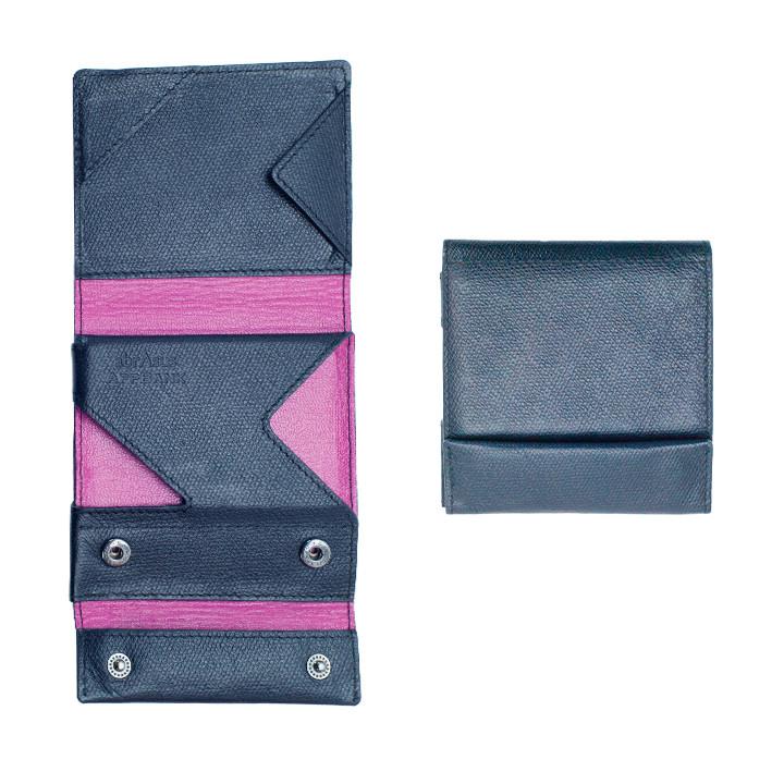 薄い財布 abrAsus(アブラサス) AppBankモデル オリジナルダークネイビー×光沢ピンク_0