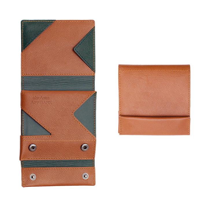薄い財布 abrAsus(アブラサス) AppBankモデル キャメル×ダークグリーン