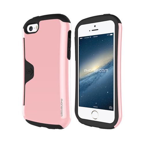 カード収納機能付ケース Phonefoam Golf Original ピンク iPhone SE/5s/5