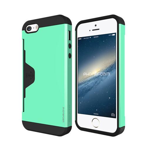iPhone SE/5s/5 ケース カード収納機能付ケース Phonefoam Golf Fit ミント iPhone SE/5s/5_0