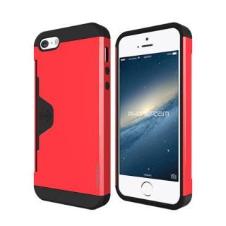 カード収納機能付ケース Phonefoam Golf Fit レッド iPhone SE/5s/5