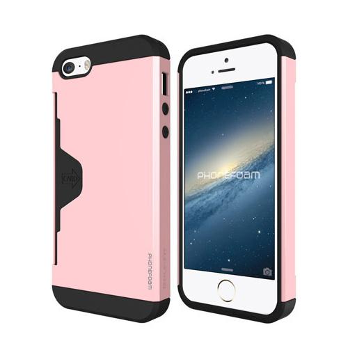 [新iPhone記念特価]カード収納機能付ケース Phonefoam Golf Fit ピンク iPhone SE/5s/5