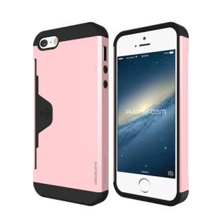 カード収納機能付ケース Phonefoam Golf Fit ピンク iPhone SE/5s/5