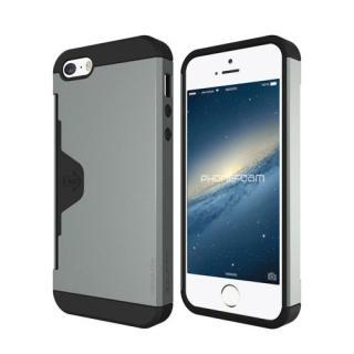 iPhone SE/5s/5 ケース カード収納機能付ケース Phonefoam Golf Fit シルバー iPhone SE/5s/5