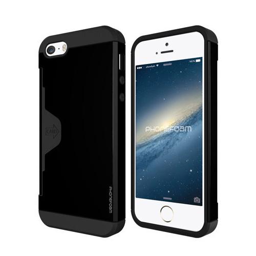 カード収納機能付ケース Phonefoam Golf Fit ブラック iPhone SE/5s/5