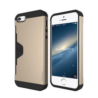 カード収納機能付ケース Phonefoam Golf Fit シャンパンゴールド iPhone SE/5s/5