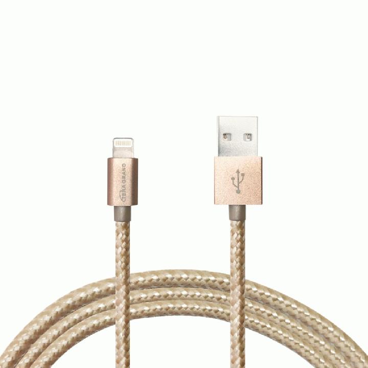 Lightningケーブル 1.2mアルミ製コネクター ゴールド/ホワイト_0