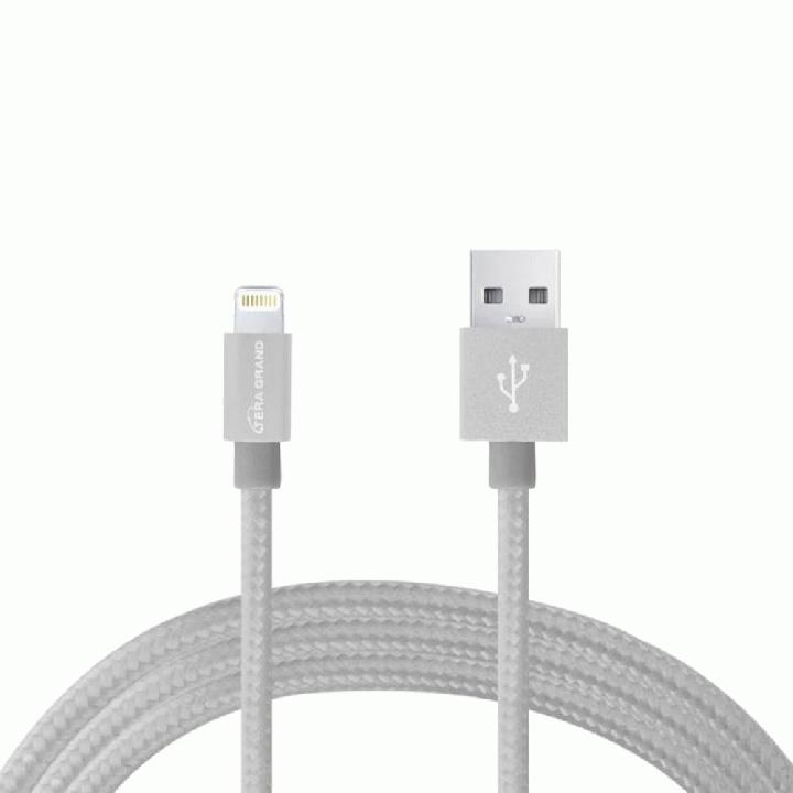 Lightningケーブル 1.2mアルミ製コネクター シルバー/ホワイト_0