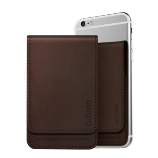 シール型カードポケット Stick Wallet ダークブラウン