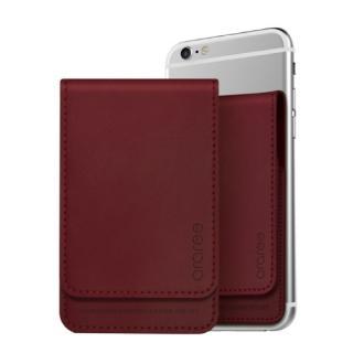 シール型カードポケット Stick Wallet バーガンディー