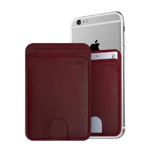 シール型カードポケット Stick Pocket バーガンディー_0