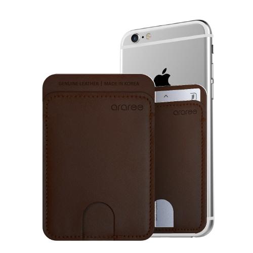 シール型カードポケット Stick Pocket ダークブラウウン_0