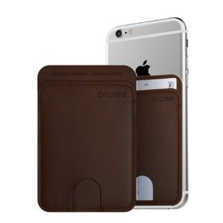 シール型カードポケット Stick Pocket ダークブラウウン