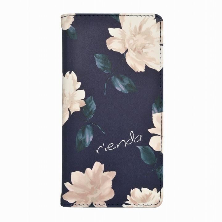 rienda プリント手帳型ケース Lace Flower ネイビー iPhone 12 mini【5月下旬】_0