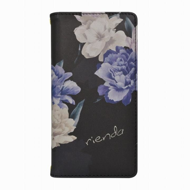 rienda プリント手帳型ケース Layer Flower ブラック iPhone 12 mini【5月中旬】_0