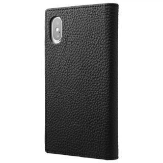 GRAMAS Shrunken-calf フルレザー手帳型ケース ブラック iPhone X
