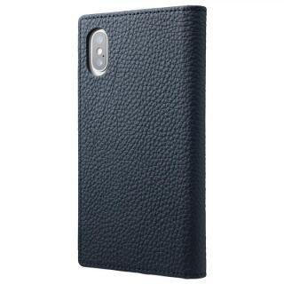 GRAMAS Shrunken-calf フルレザー手帳型ケース ネイビー iPhone X