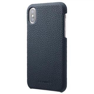 GRAMAS Shrunken-calf レザーケース ネイビー iPhone XS/X