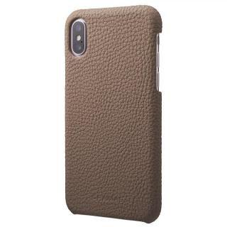 GRAMAS Shrunken-calf レザーケース トープ iPhone XS/X