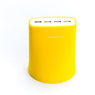 余分なコードを収納できる Jelly 5.1A USB4ポート充電器 イエロー iPhone iPad iPod