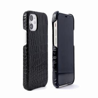 iPhone 12 / iPhone 12 Pro (6.1インチ) ケース イタリアンレザー クロコバックカバーケース ブラック iPhone 12/12 Pro【6月中旬】