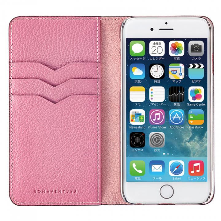 【iPhone6ケース】BONAVENTURA ドイツ製本革手帳型ケース ピンク iPhone 6_0