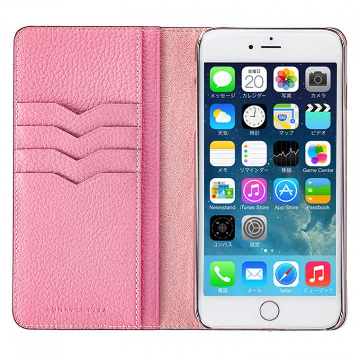 BONAVENTURA ドイツ製本革手帳型ケース ピンク iPhone 6s Plus/6 Plus
